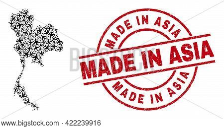 Made In Asia Rubber Badge, And Thailand Map Mosaic Of Airliner Items. Mosaic Thailand Map Constructe