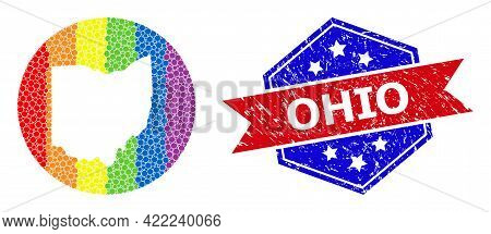 Pixelated Rainbow Gradiented Map Of Ohio State Collage Composed With Circle And Cut Out Shape, And D