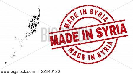Made In Syria Grunge Badge, And Palau Map Collage Of Air Force Elements. Collage Palau Map Designed