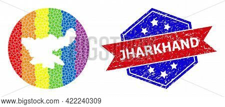 Pixelated Bright Spectral Map Of Jharkhand State Mosaic Created With Circle And Stencil, And Scratch