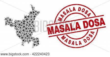Masala Dosa Rubber Stamp, And Haryana State Map Mosaic Of Airliner Elements. Mosaic Haryana State Ma