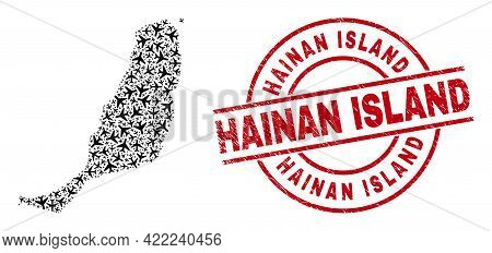 Hainan Island Distress Seal Stamp, And Fuerteventura Island Map Collage Of Aircraft Items. Collage F