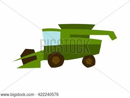 Illustration Of Combine Harvester. Agricultural Harvesting Transport.
