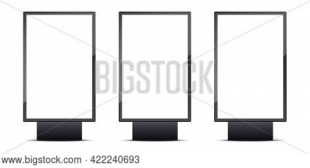 Set Of Realistic Blank Outdoor Lightboxes Banner. Vertical Empty Advertising Billboard. Street Shiel