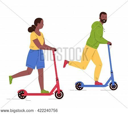 Man And Woman Riding Electric Walk Scooters. Couple Driving E-scooters Together. Alternative Modern