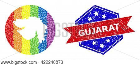 Dot Spectrum Map Of Gujarat State Mosaic Designed With Circle And Subtracted Space, And Textured Sea