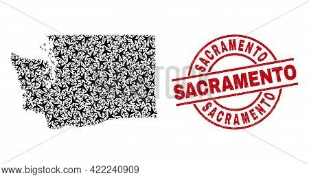 Sacramento Rubber Seal Stamp, And Washington State Map Mosaic Of Aircraft Elements. Collage Washingt
