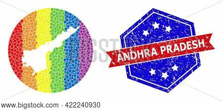 Pixelated Bright Spectral Map Of Andhra Pradesh State Mosaic Formed With Circle And Cut Out Shape, A