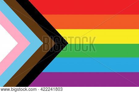 Vector Flat New Lgbt Lgbtq Pride Rainbow Flag Isolated On Background