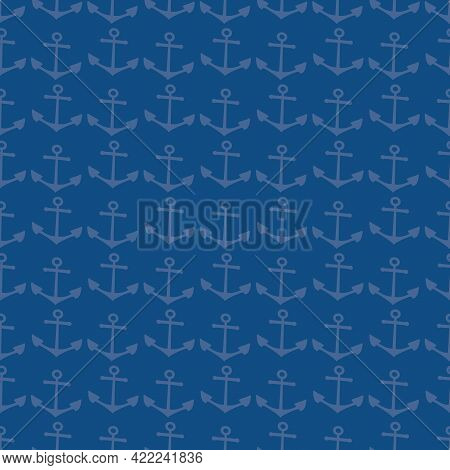 Vector Anchor Monochrome Navy Blue Seamless Pattern Background. Blended Texture Backdrop With Anchor
