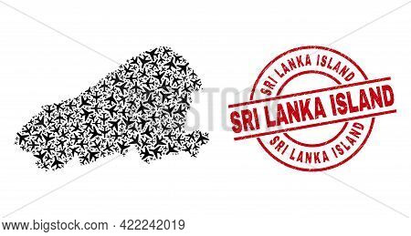 Sri Lanka Island Distress Stamp, And Kahoolawe Island Map Collage Of Air Force Elements. Collage Kah