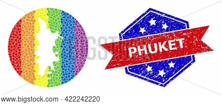 Dotted Rainbow Gradiented Map Of Phuket Mosaic Designed With Circle And Stencil, And Distress Seal S
