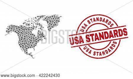 Usa Standards Rubber Badge, And North America Map Collage Of Airliner Elements. Collage North Americ