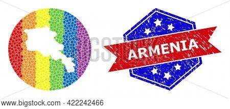 Dotted Spectrum Map Of Armenia Mosaic Designed With Circle And Subtracted Shape, And Grunge Seal. Lg
