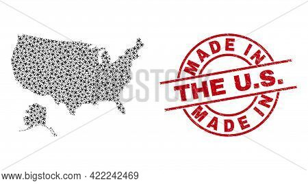 Made In The U.s. Distress Stamp, And Usa With Alaska Map Mosaic Of Air Force Items. Mosaic Usa With