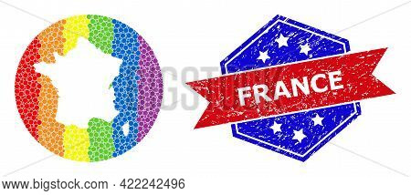 Pixelated Rainbow Gradiented Map Of France Mosaic Designed With Circle And Cut Out Shape, And Scratc