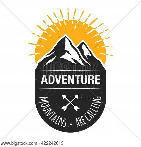 Sunrise In A Mountains, Vector Travel Badge.