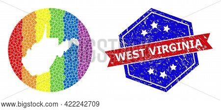 Pixel Rainbow Gradiented Map Of West Virginia State Mosaic Created With Circle And Subtracted Space,