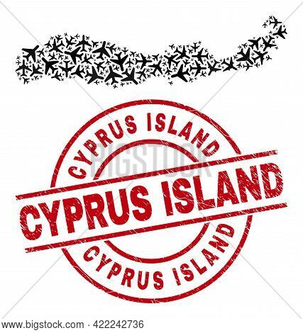 Cyprus Island Scratched Stamp, And Flores Island Of Indonesia Map Mosaic Of Air Plane Items. Collage