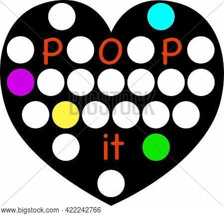 Pop It Antistress Popular Toy. Silicon Heart Like Toy For Children And Teenagers. Black Shape