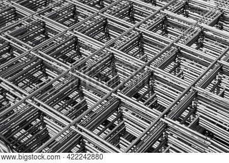 Steel Rebar Mesh For Reinforced Concrete. Foundation Construction Material
