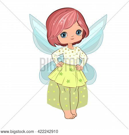 Little Fairy Girl In Beautiful Clothes. Modern. Handsome Fashionable Child. The Isolated Object On A