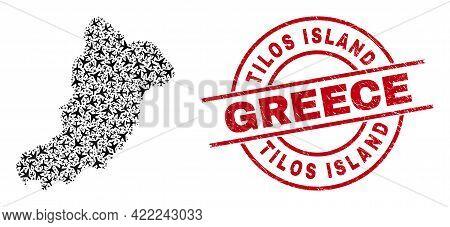 Tilos Island Greece Grunge Badge, And La Graciosa Island Map Mosaic Of Airliner Elements. Mosaic La
