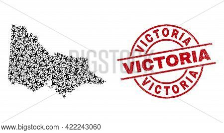 Victoria Scratched Badge, And Australian Victoria Map Mosaic Of Air Plane Items. Mosaic Australian V