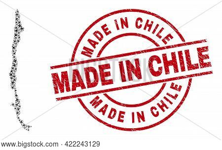 Made In Chile Distress Stamp, And Chile Map Collage Of Airliner Items. Collage Chile Map Created Of