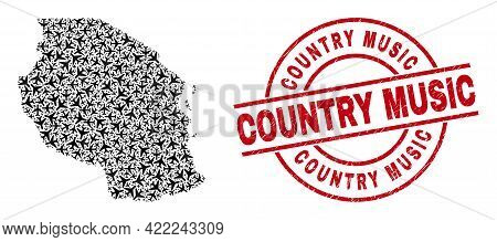 Country Music Rubber Seal Stamp, And Tanzania Map Mosaic Of Airplane Items. Collage Tanzania Map Con