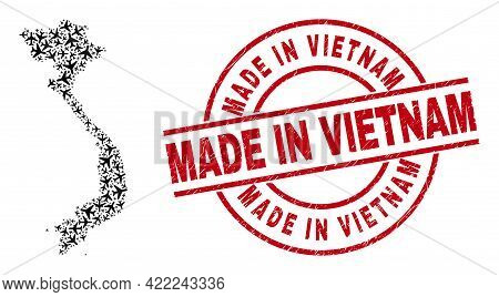 Made In Vietnam Scratched Seal Stamp, And Vietnam Map Collage Of Aeroplane Items. Collage Vietnam Ma