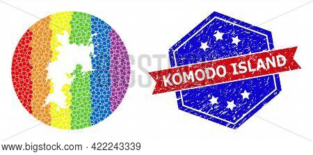 Pixelated Bright Spectral Map Of Komodo Island Mosaic Created With Circle And Subtracted Shape, And