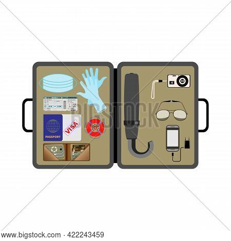 Open Traveler's Briefcase. Top View. Essential Items. Medical Mask, Gloves. Transport Ticket, Passpo