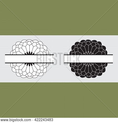 Monochrome Abstract Flowers. Two Fully Opened Dahlias. Vintage Botanical Illustrations. Design Eleme