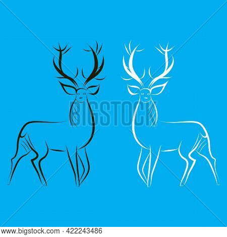 Hand-drawn Red Deer Males. Cervus Black And White Contour Silhouettes. Animals With Large Horns. Sid