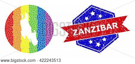 Dotted Spectrum Map Of Zanzibar Island Mosaic Created With Circle And Hole, And Grunge Seal Stamp. L