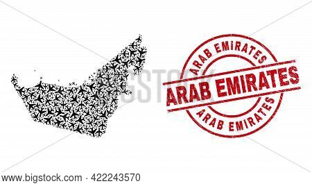 Arab Emirates Rubber Seal Stamp, And United Arab Emirates Map Collage Of Air Force Items. Mosaic Uni