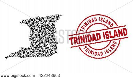 Trinidad Island Rubber Seal Stamp, And Trinidad Island Map Collage Of Air Force Elements. Mosaic Tri