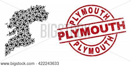 Plymouth Grunge Seal Stamp, And Pontevedra Province Map Mosaic Of Jet Vehicle Items. Mosaic Ponteved