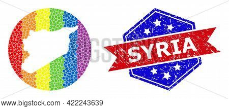 Dotted Spectrum Map Of Syria Mosaic Designed With Circle And Stencil, And Grunge Seal. Lgbtq Spectru