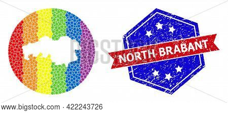 Dot Rainbow Gradiented Map Of North Brabant Province Mosaic Designed With Circle And Subtracted Spac