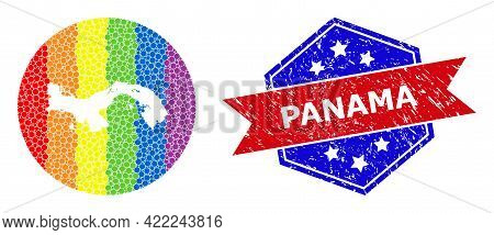 Pixel Bright Spectral Map Of Panama Mosaic Created With Circle And Stencil, And Distress Seal Stamp.