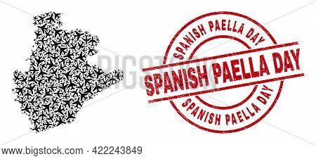 Spanish Paella Day Scratched Stamp, And Barcelona Province Map Collage Of Airliner Elements. Collage