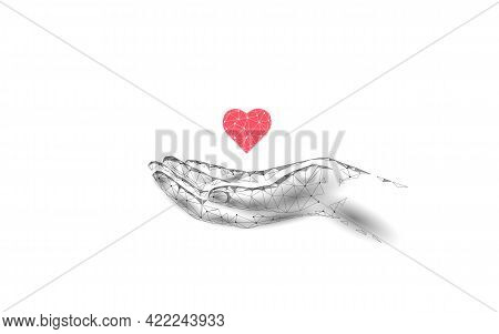 Fundraising Giving Heart Symbol Money Hand. Charity Volunteer Giving Donate Social Project. Finance