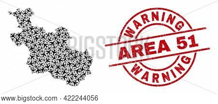 Warning Area 51 Rubber Seal Stamp, And Overijssel Province Map Mosaic Of Jet Vehicle Items. Mosaic O
