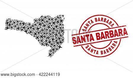 Santa Barbara Rubber Seal, And Santa Catarina State Map Mosaic Of Airliner Elements. Mosaic Santa Ca