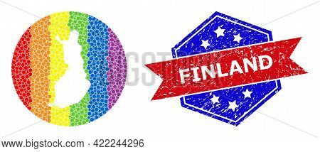 Dot Spectrum Map Of Finland Mosaic Created With Circle And Carved Shape, And Distress Watermark. Lgb