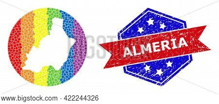 Pixel Bright Spectral Map Of Almeria Province Collage Designed With Circle And Subtracted Shape, And