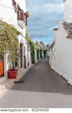 Traditional Architecture Of The Trulli Village In Alberobello, Italy.
