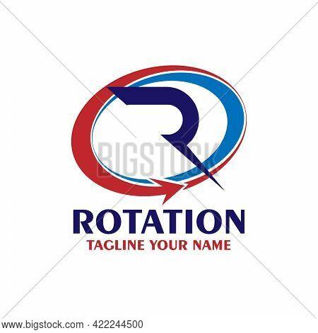 R Letter Design Logo Vector. R Rotation Design Vector